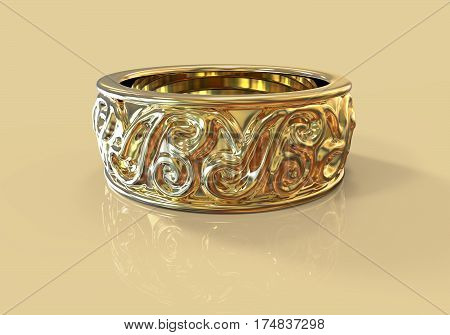 Gold wedding ring with beautiful ornament on colorful background, 3D illustration
