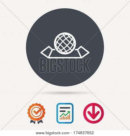 World map icon. Globe sign. Travel location symbol. Report document, award medal with tick and new tag signs. Colored flat web icons. Vector