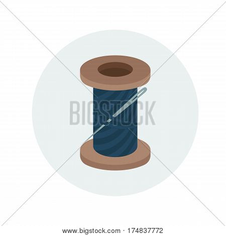 Spool of navy blue thread with needle