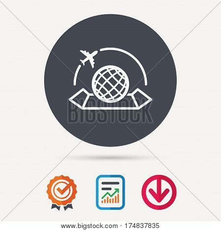 World map icon. Globe with airplane sign. Plane travel symbol. Report document, award medal with tick and new tag signs. Colored flat web icons. Vector