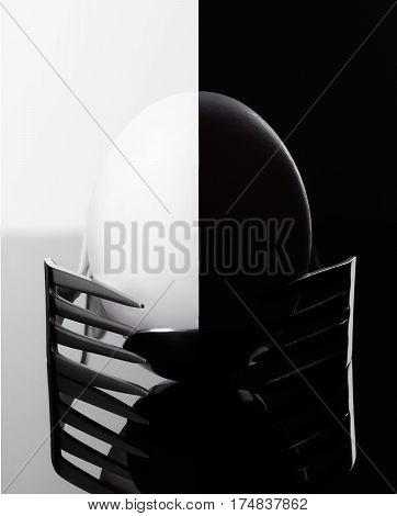 Elegant morning egg presented on two forks balance breakfast Cutlery kitchen appliances
