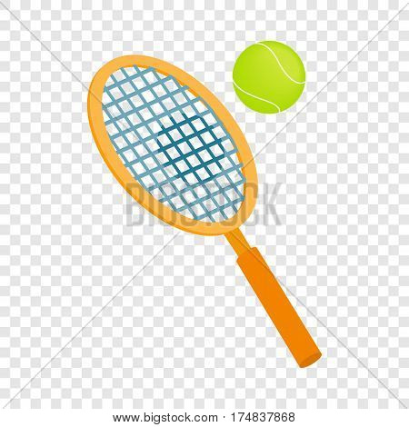 Tennis racket with a tennis ball isometric icon 3d on a transparent background vector illustration