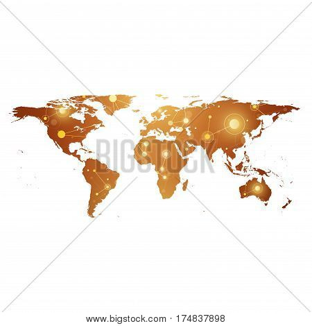 Golden Political World Map with global technology networking concept. Digital data visualization. Scientific cybernetic particle compounds. Big Data background communication. Vector illustration