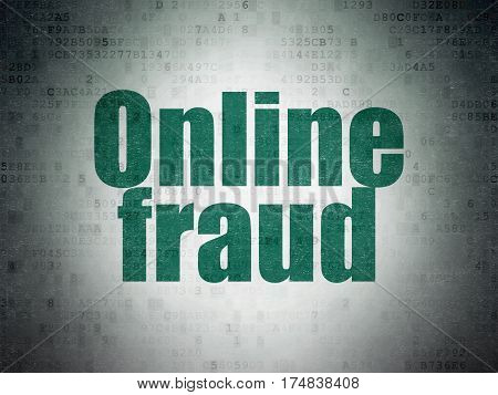 Security concept: Painted green word Online Fraud on Digital Data Paper background