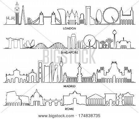 Cityscape Building Line, Vector Illustration Design (london, Singapore, Madrid, Rome)
