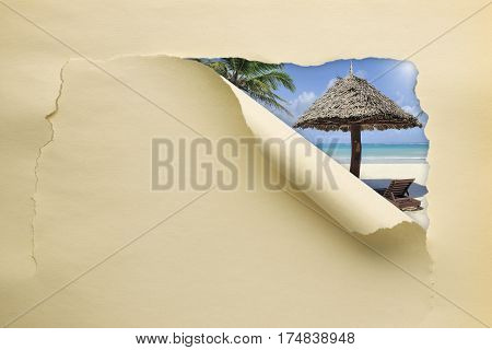 Torn Paper With Summer Beach