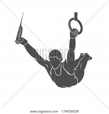Silhouette gymnast on rings on a white background. Vector illustration.
