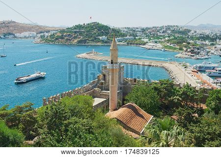 BODRUM, TURKEY - AUGUST 15, 2009: View to the Crusader castle and harbor in Bodrum, Turkey.