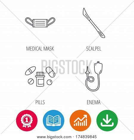 Medical mask, pills and scalpel icons. Enema linear sign. Award medal, growth chart and opened book web icons. Download arrow. Vector