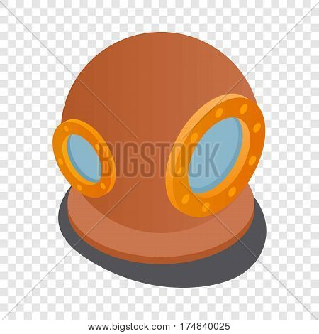 Diving suit helmet isometric icon 3d on a transparent background vector illustration
