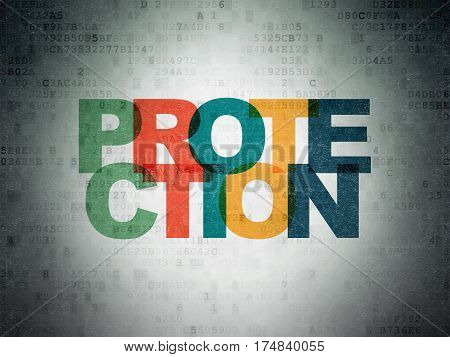 Protection concept: Painted multicolor text Protection on Digital Data Paper background