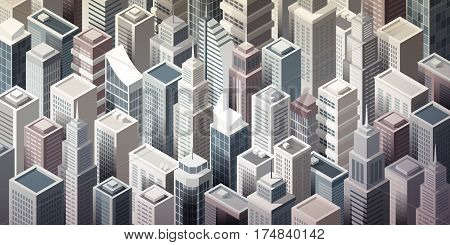 Modern metropolitan city with tall isometric skyscrapers aerial view