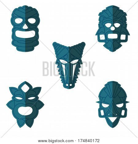 Set Of Ancient Tribal Masks In Duotone Style