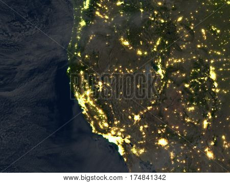West Coast Of Usa At Night On Planet Earth