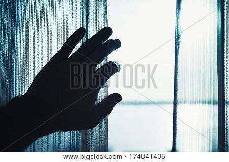Hand Opens Tulle On Window, Blue Toned