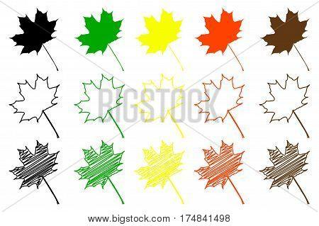 maple leaf - color set , maple leaf