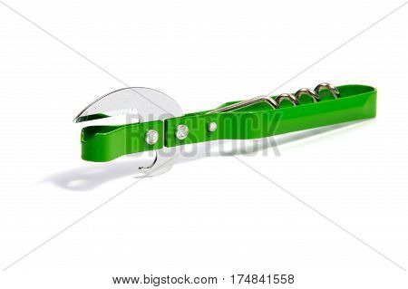 Silver metallic wine corkscrew bottle opener on white background.
