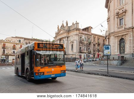 CATANIA ITALY - SEP 13 2015: Bus on the streets of Catania in Sicily Italy