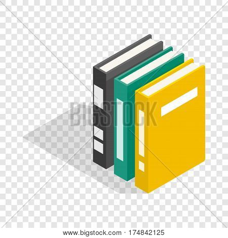 Three books of encyclopedia isometric icon 3d on a transparent background vector illustration