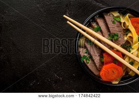 Beef Soup With Noodles In The Asian Style