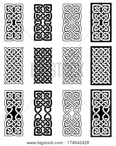 Celtic style endless knot rectangle symbols in white and black inspired by Irish St Patrick's Day, and Irish and Scottish carving art