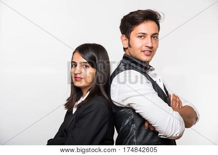 Indian Business people group team standing folded hand smile, businessman and businesswoman or lawyer or architect wear gray suit Isolated over white background