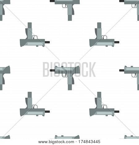 Submachine gun security and military weapon. Metal automatic gun. Seamless pattern, tiling ornament vector illustration