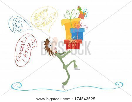 joyful man with a mountain of gifts and thoughts about various Greetings / Happy Holidays