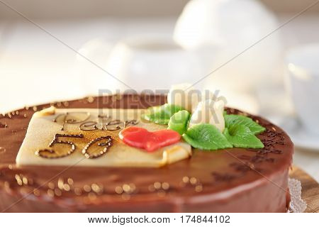 White Marzipan Roses On Chocolate Cake Sacher Torte