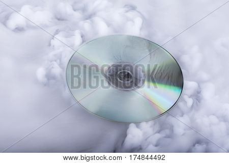 Sound cloud. Conceptual image. Compact disk in clouds