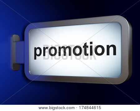 Advertising concept: Promotion on advertising billboard background, 3D rendering