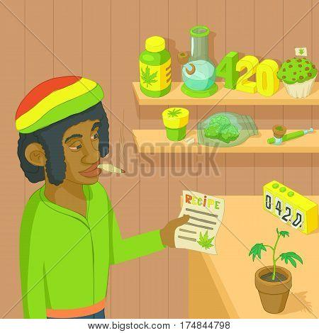 Rastafarian marijuana concept. Cartoon illustration of rastafarian marijuana vector concept for web