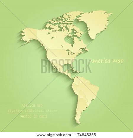 America map separate individual states green yellow vector