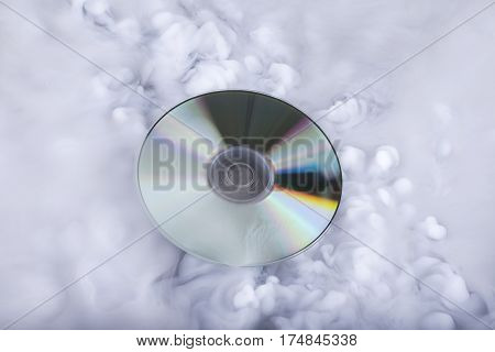Compact disk in the clouds. Conceptual image. Soundcloud