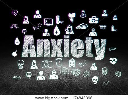 Health concept: Glowing text Anxiety,  Hand Drawn Medicine Icons in grunge dark room with Dirty Floor, black background