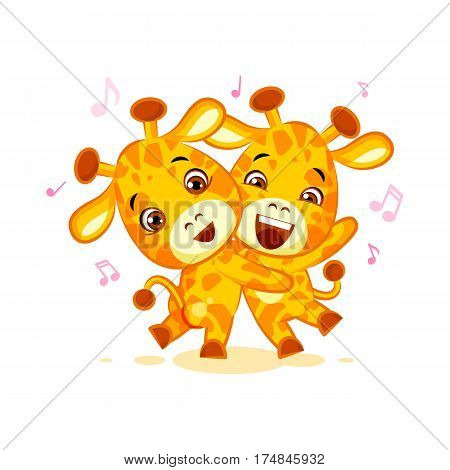 Vector Stock Illustration isolated Emoji have date let dance music character cartoon friends Giraffe sticker emoticon for info graphics, video, animation, website, mail, newsletters, reports, comic