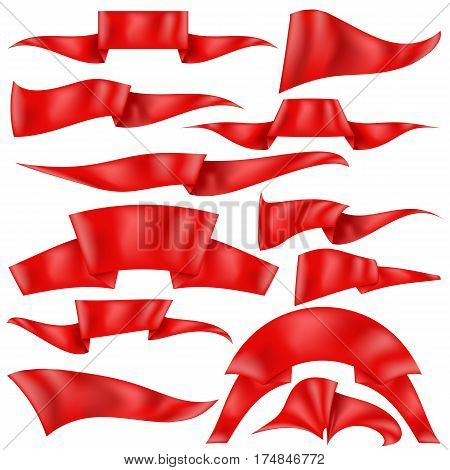 Set of Red Ribbons Isolated on White Background. Flag Collection