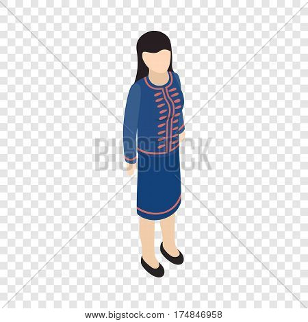 Female singaporean isometric icon 3d on a transparent background vector illustration