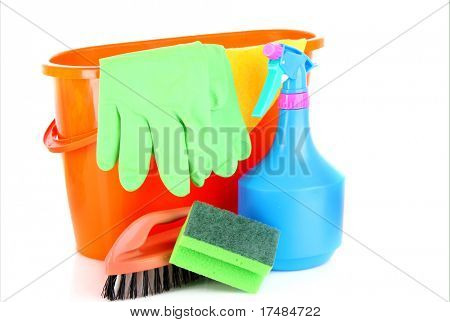 cleaning supplies isolated on white