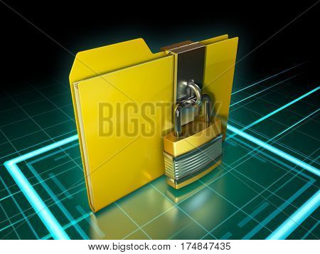 Data folder protected by a padlock. 3D illustration.