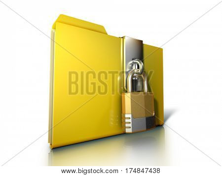 Document folder protected by a padlock. 3D illustration on white background, clipping path included.
