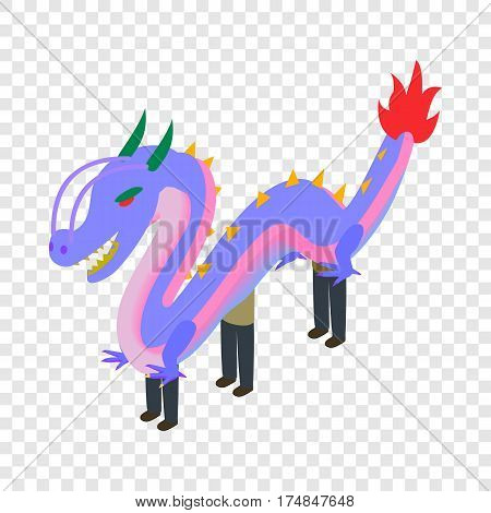 Dancing dragon isometric icon 3d on a transparent background vector illustration