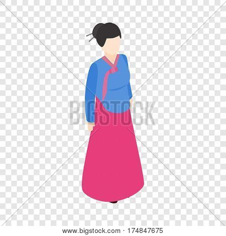 Girl korean isometric icon 3d on a transparent background vector illustration