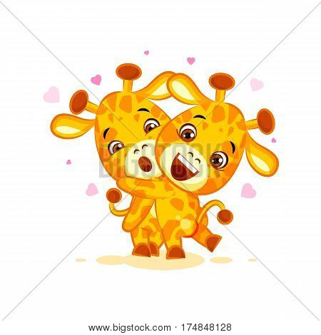 Vector Stock Illustration isolated Emoji have hugs be mine character cartoon friends giraffe sticker emoticon for site, info graphics, video, animation, website, mail, newsletters, reports, comic
