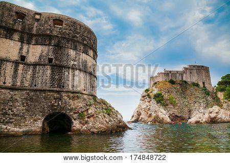 the old buildings of Fort Bokar and Fort Lovrijenac in Dubrovnik Croatia