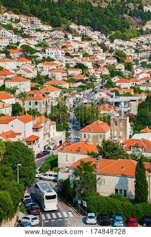 the street with small residential houses with orange roofs in the centre of Dubrovnik Croatia