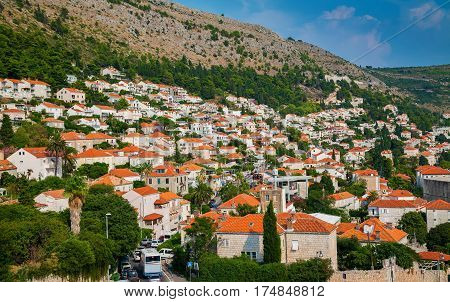 aerial view of the small residential houses with orange roofs in the centre of Dubrovnik Croatia