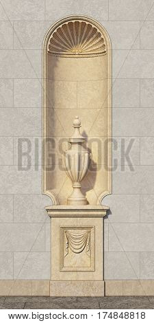 Niche in a classic style with a vase on a stone wall. 3d rendering.