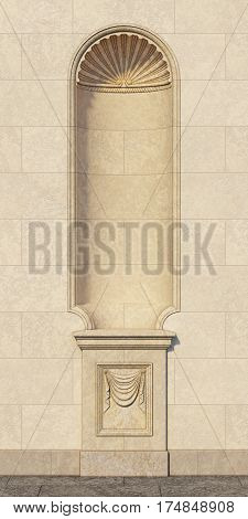 niche in the classical style on a stone wall. 3d rendering