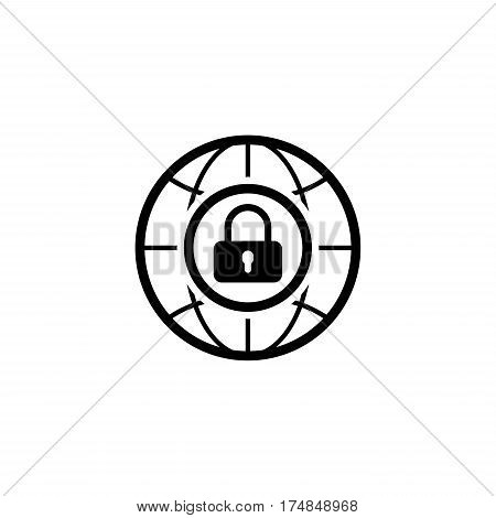 Internet Security Icon. Flat Design. Business Concept. Isolated Illustration.